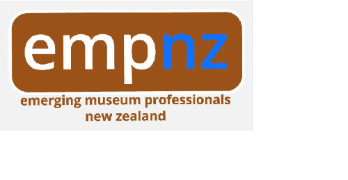 Brown rectangle with rounded corners, white and blue text making up the EMPNZ logo.