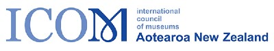 Blue and white logo of ICOM International Council of Museums Aotearoa New Zealand.
