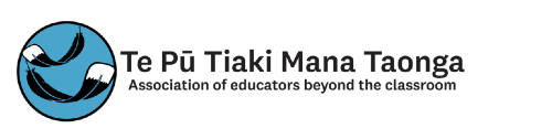 Logo of Te Pu Tiaki Mana Taonga Association of educators beyond the classroom. Includes a round icon with two stylised huia feathers against a blue background.