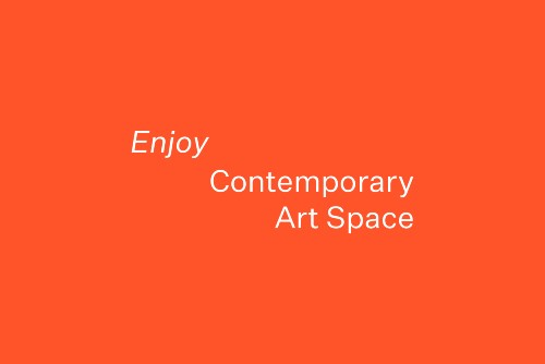 Enjoy Contemporary Art Space name in white text on red/orange background.
