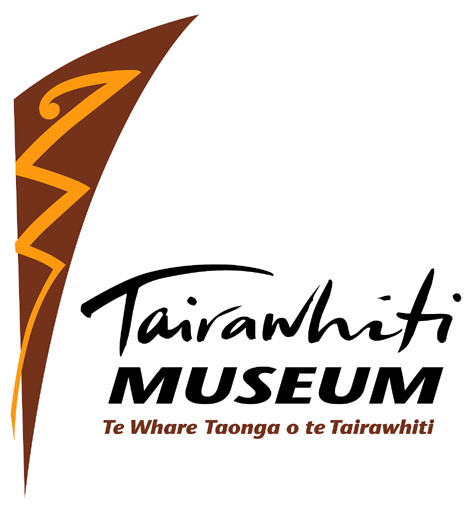 Tairawhiti Museum logo; brown and yellow triangle protruding into the centre of the logo with the museum's name in black.