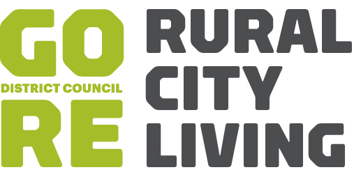 Gore Council logo: 'Gore' green to the left, 'Rural city living' to the right in black, on white background.