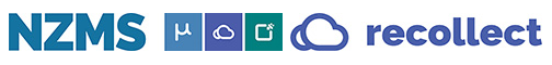 Three logos side by side in blue and green, on white background