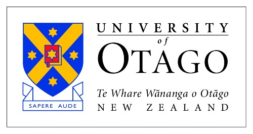 University of Otago logo with blue and yellow crest and black writing