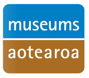 Museums Aotearoa logo in blue and brown