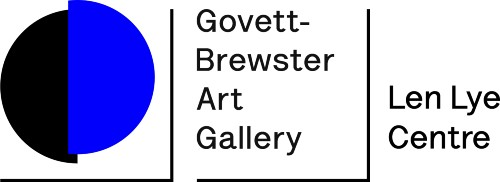 Govett-Brewster Art Gallery logo with blue and black circle
