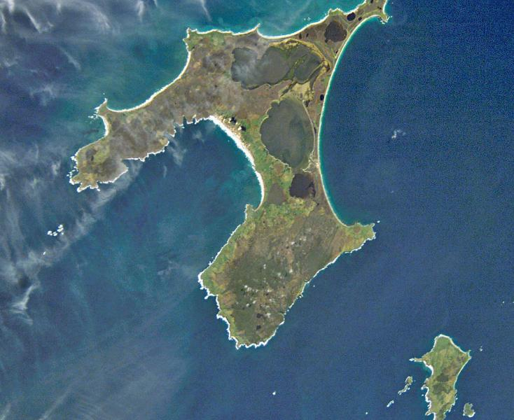 Satellite image of Chatham Islands.